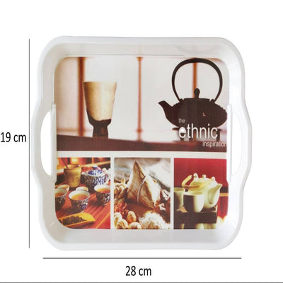 Melamine Serving Tray with Handle (Small, 19cm x 28.5cm)