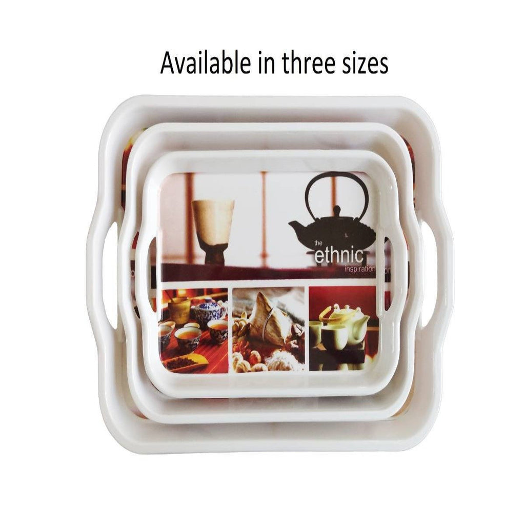 Melamine Serving Tray with Handle (Large, 27.5cm x 38cm)