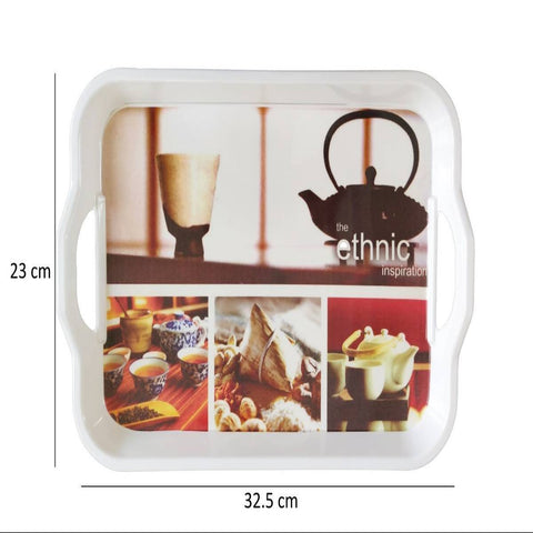 Melamine Serving Tray with Handle (Medium, 23cm x 32.5cm)