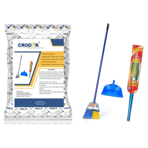 Gala V Ceiling Broom + No Dust Broom Large + Dustpan