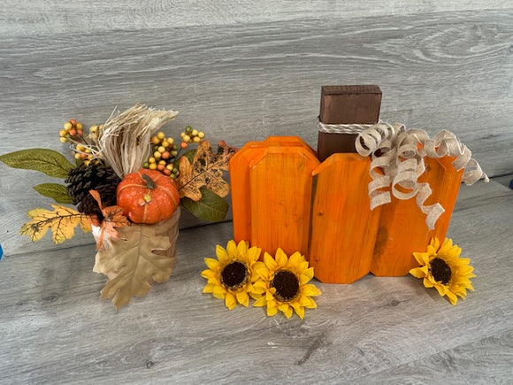 Wood Pumpkin Paint Kit- All Supplies Included.