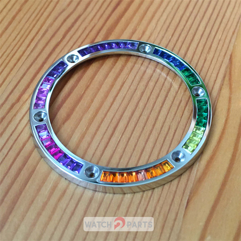 silvery color steel rainbow CVD synthetic gem bezel for HUB Hublot BigBand 411 45mm automatic watch
