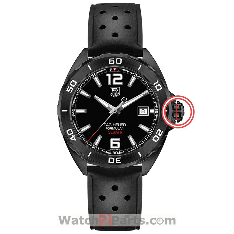 matte black PVD inside screw watch crown for F1 Tag Heuer Formula 1 41mm automatic watch - watch2parts