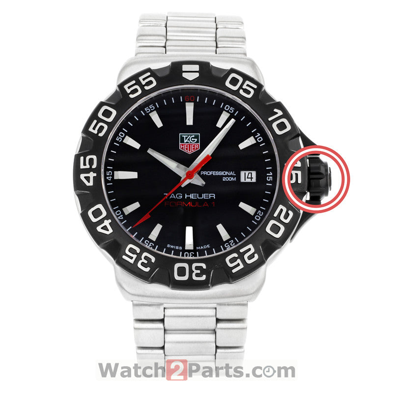 7.8mm matte black PVD inside screw watch crown adjust time parts for TAG Heuer F1 Formula 1 watch - watch2parts