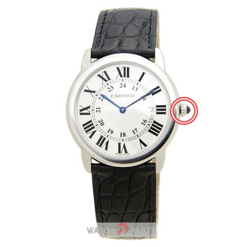 blue Sapphire Crystal watch crown for Cartier Ronde lady's watch - watch2parts