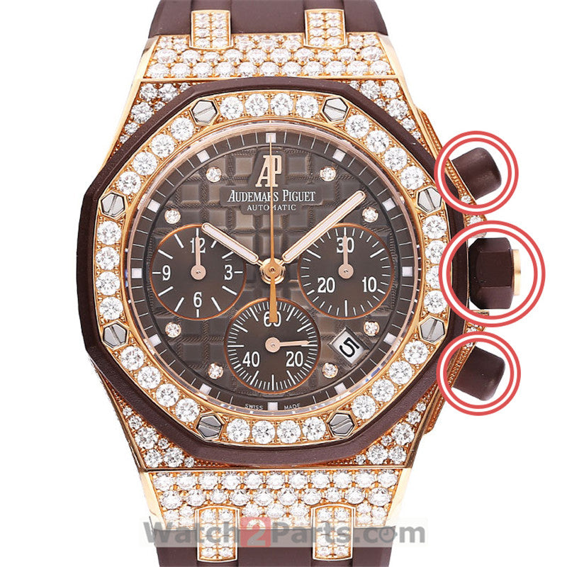white and brown rubber crown cover/pusher sheath for Audemars Piguet Royal Oak Offshore 37mm lady's watch - watch2parts