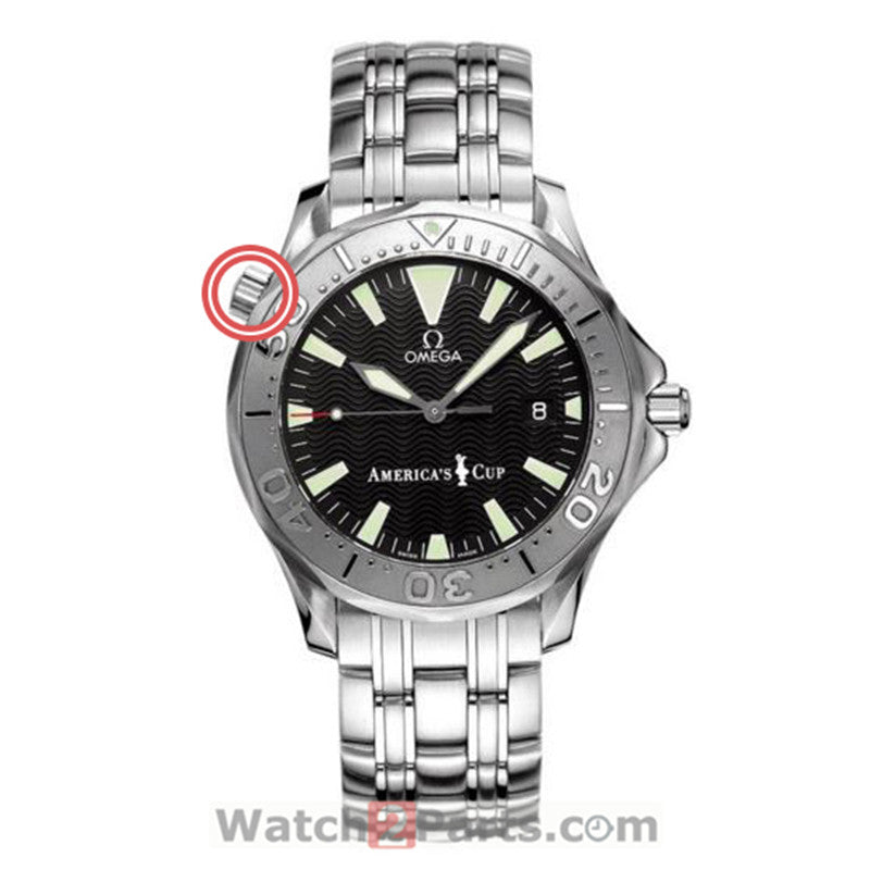 10 o'clock Ω watch crown for Omega Seamaster Diver 300M Co-Axial 41mm watch - watch2parts