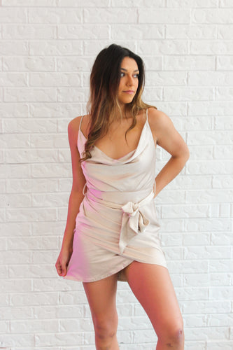 SATIN WRAP MINI DRESS