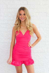 HOT PINK RUCHED DRESS