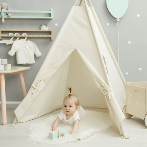 Perfect for decorating a playroom. TeePee features cotton canvas fabric with wooden poles. Mat Included!