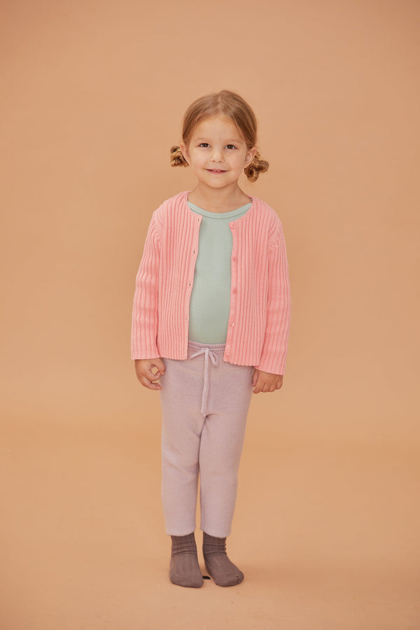 Rib Cardigan - Light Pink