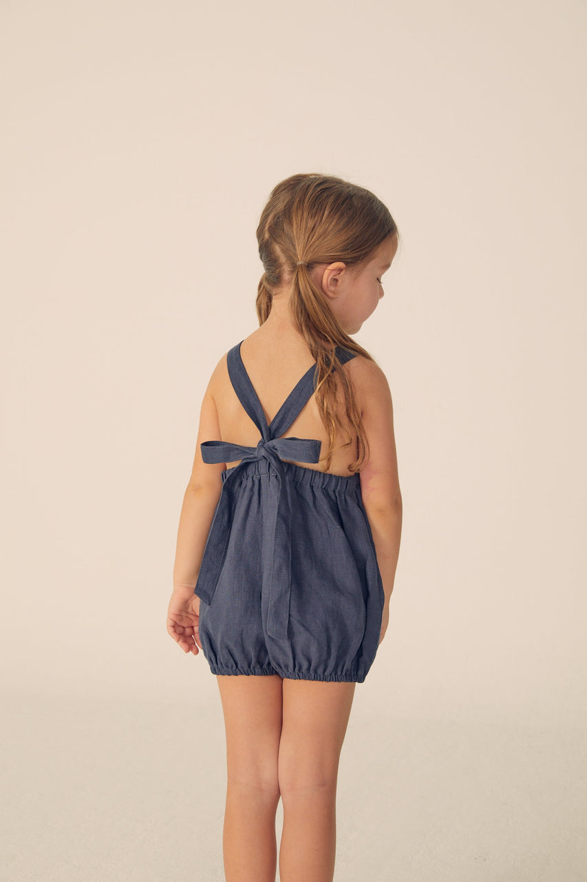 Bubble Linen Romper - Navy