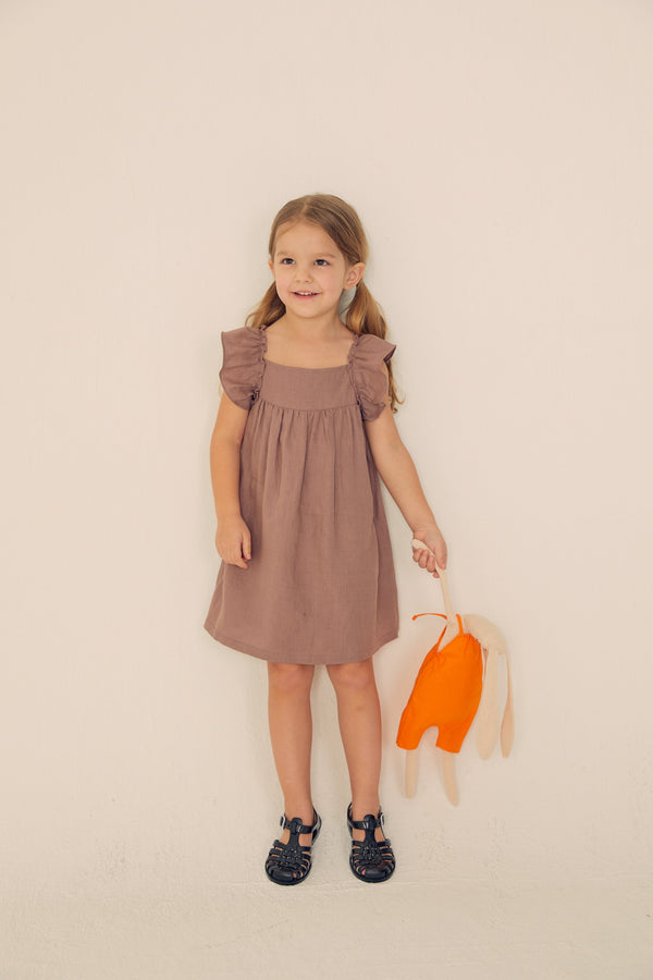 Ruffled Linen Dress - Mocha