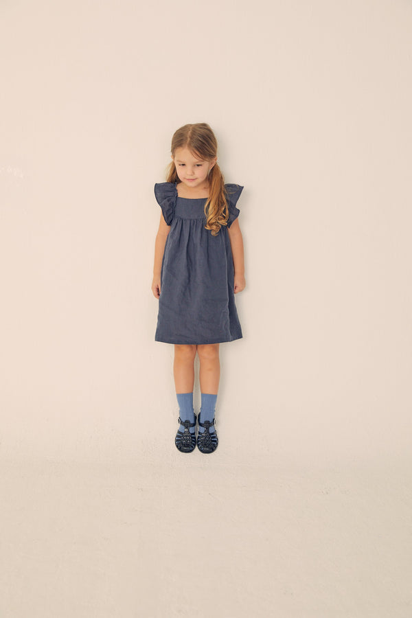 Ruffled Linen Dress - Navy