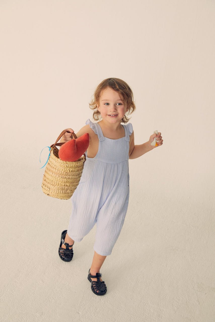 Gauze Ruffled Overalls - Light Blue