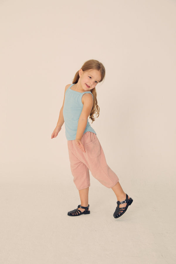 Slub Baggy Pants - Pale Pink