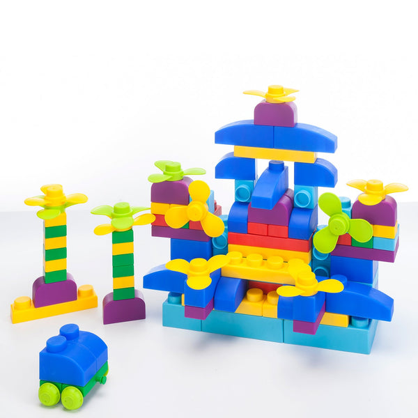 Soft Building Blocks 122 Piece Plus Series - Primary Color