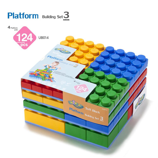 Soft Building Blocks Set 124 Pieces with Platform