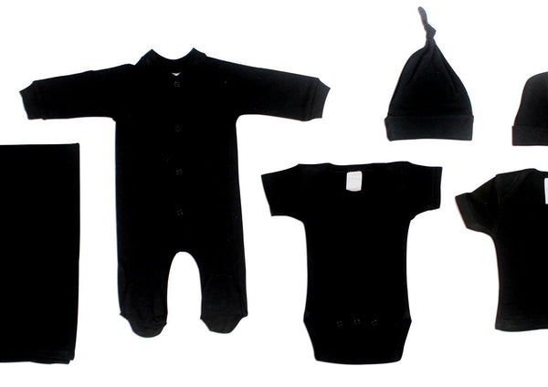 Baby Clothing - Black 6 Piece Layette Set