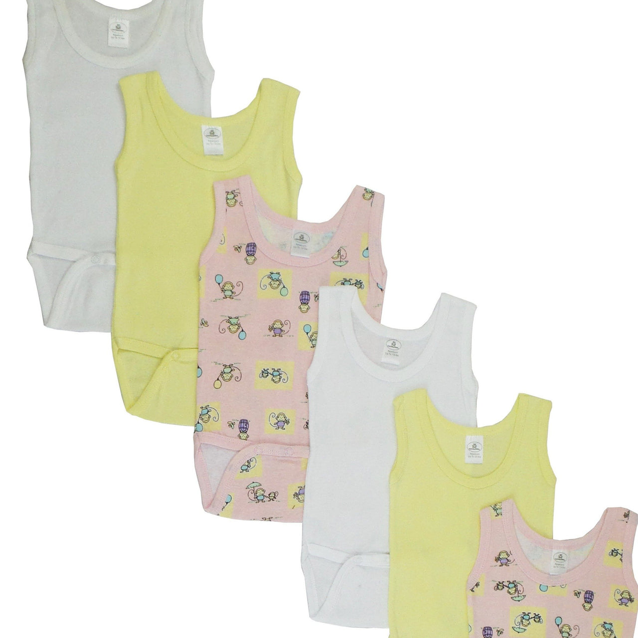 Baby Clothing - Girls Rib Knit Sleeveless Tank Top Onesies (6 Pack)