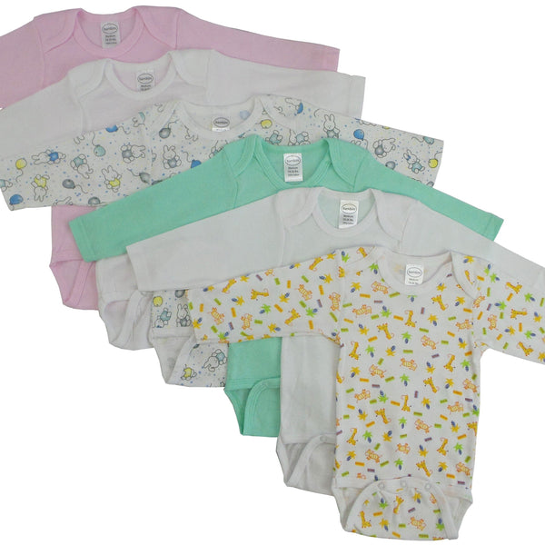 Baby Clothing - Girls Rib Knit Variety Long Sleeve Onesies (6 Pack)