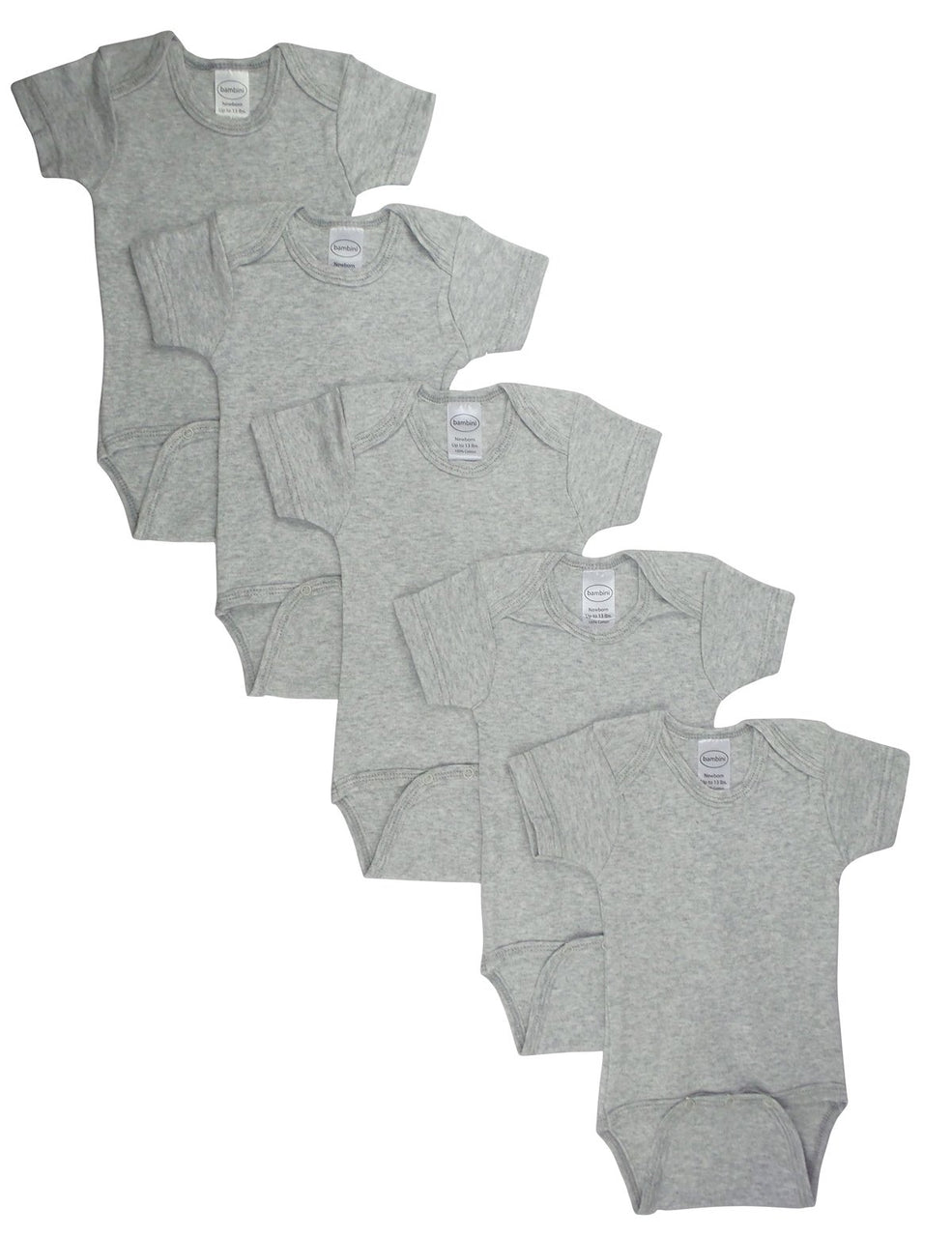 Baby Clothing - Heather Grey Interlock Short Sleeve Onesies (5 Pack)