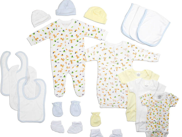Baby Clothing - Newborn Baby Boys 18 Piece Layette Gift Set