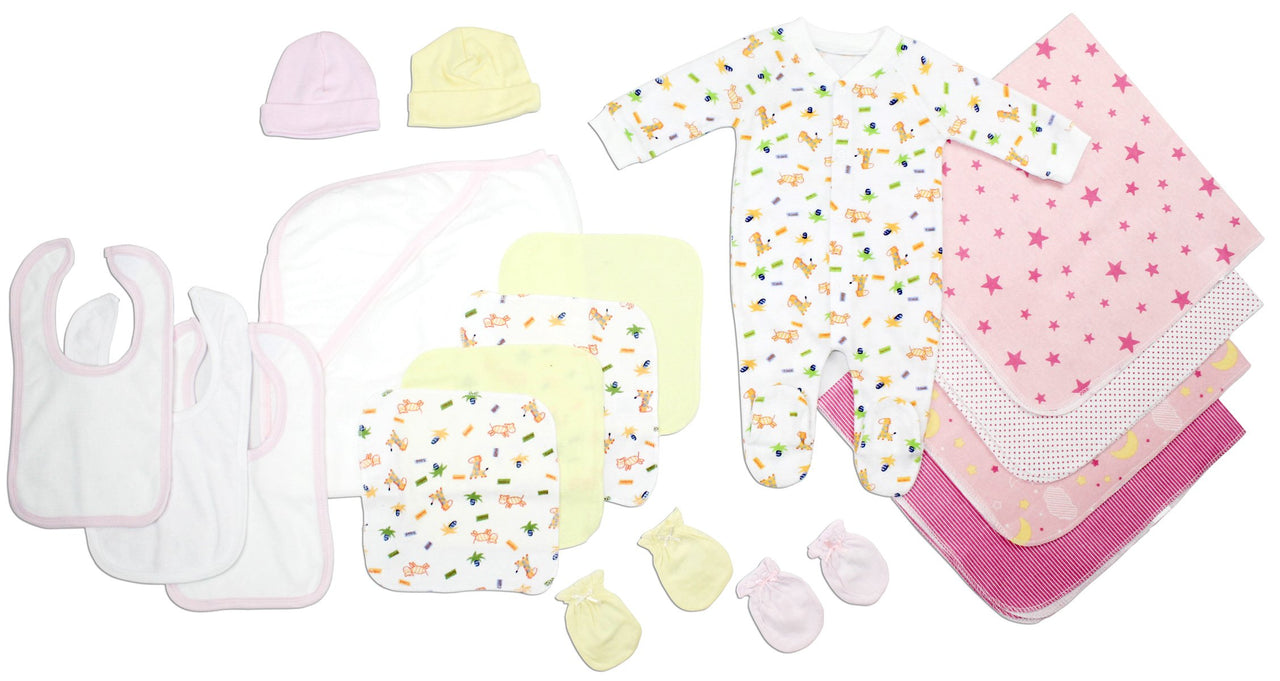 Baby Clothing - Newborn Baby Girls 17 Piece Layette Gift Set