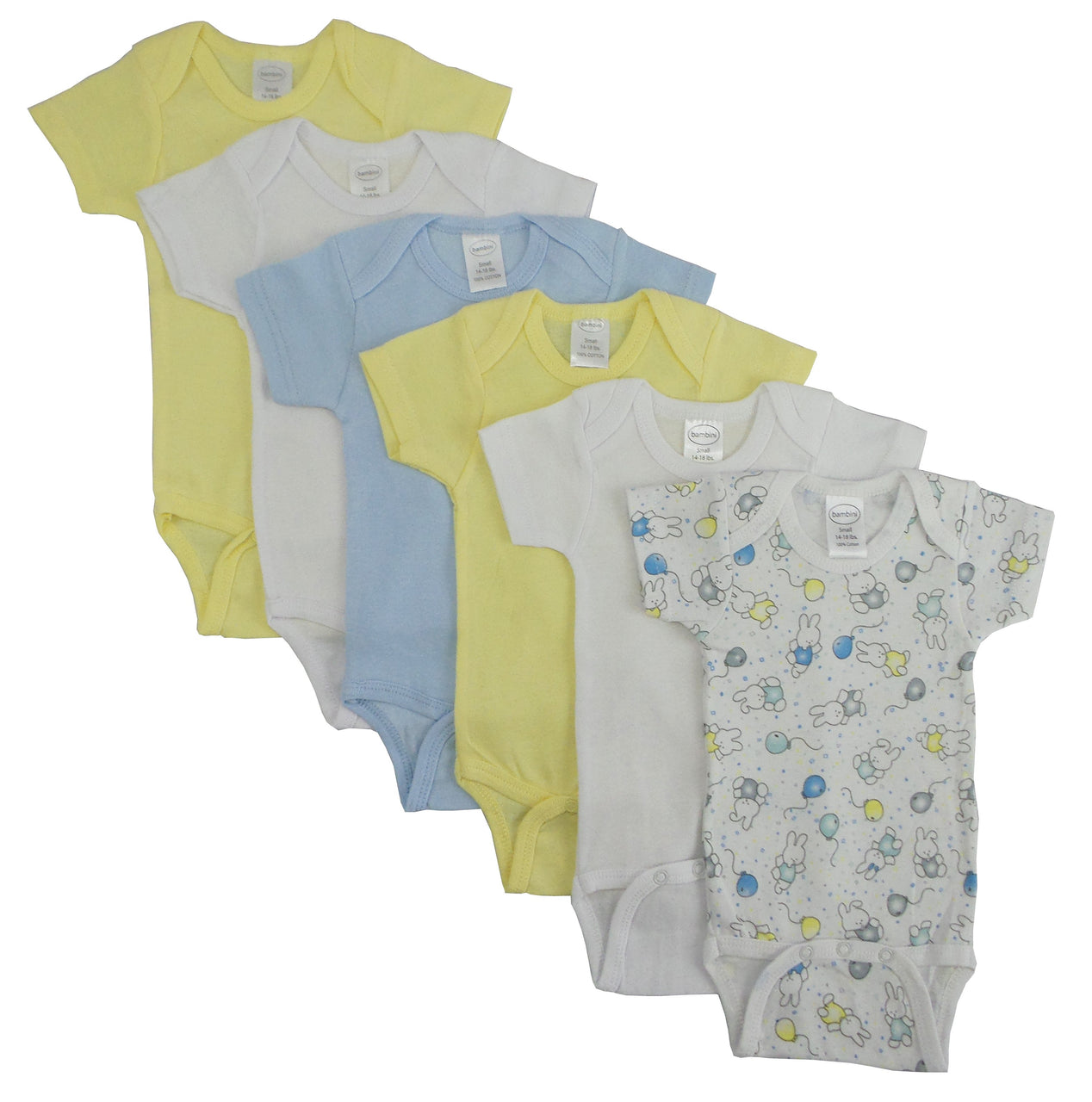 Baby Clothing - Printed Pastel Boys Short Sleeve Onesies (6 Pack)