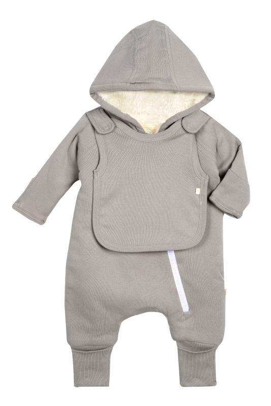 Baby Clothing - Smart Cuddly Jumpsuit + Bib - Gray