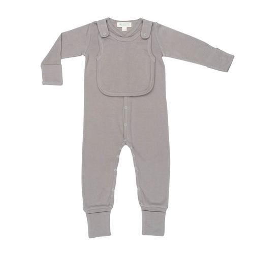Baby Clothing - Smart Footed One Piece + Bib - Gray