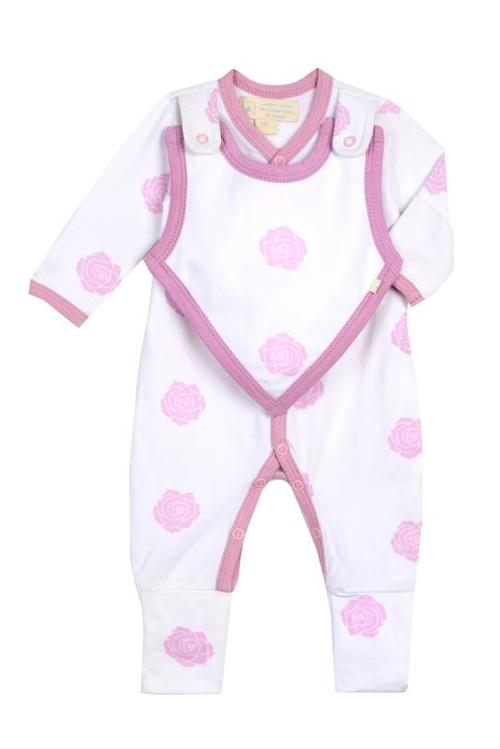Baby Clothing - Smart Footed One Piece + Bib - Pink Rose