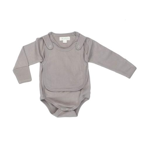 Baby Clothing - Smart Long Sleeve Kimono Bodysuit + Bib - Gray