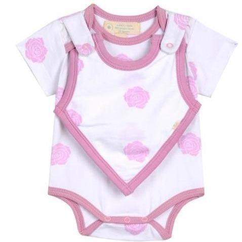 Baby Clothing - Smart Short Sleeve Bodysuit + Bib - Pink Rose