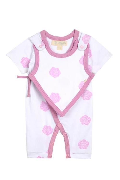 Baby Clothing - Smart Short Sleeve Kimono Romper + Bib - Pink Rose