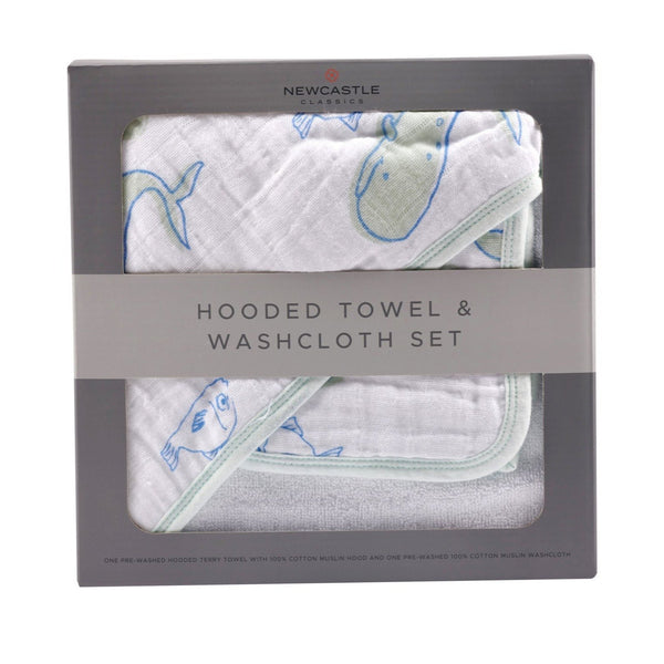Bathing - Ocean Hooded Towel And Washcloth Set