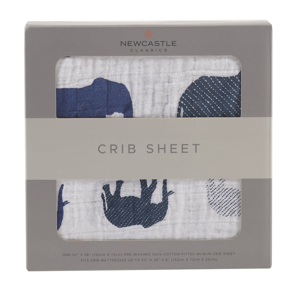 Blankets & Pillows - Blue Elephants Crib Sheet