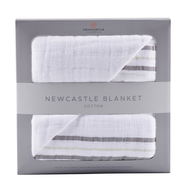 Blankets & Pillows - Teddy Bear And Grey Stripe Newcastle Blanket