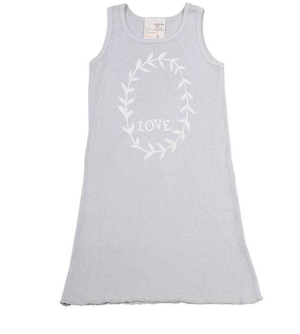 Kid's Clothing - Tank Dress With Ruffle - Love Garland Print
