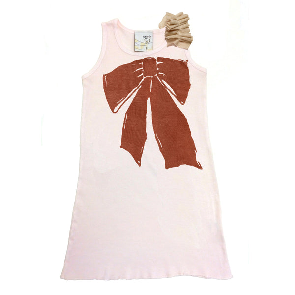 Kid's Clothing - Tank Dress With Ruffle - Painterly Ribbon Print