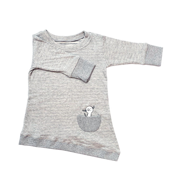 Kids & Babies - Asymmetric Dress - Grey Skinny Stripes