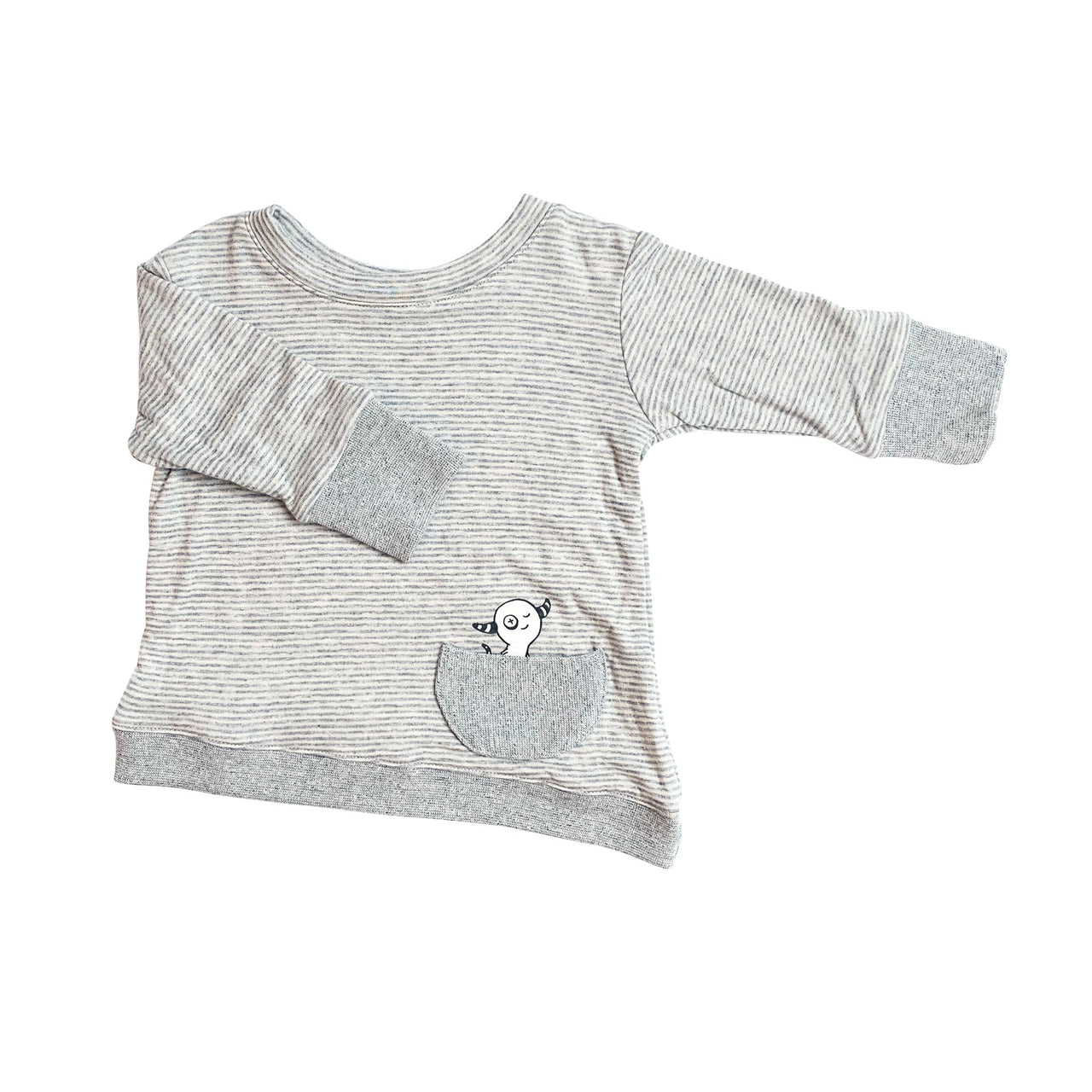 Kids & Babies - Asymmetric Pullover - Grey Skinny Stripes