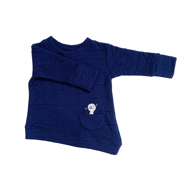 Kids & Babies - Asymmetric Pullover - Quilted Deep Blue