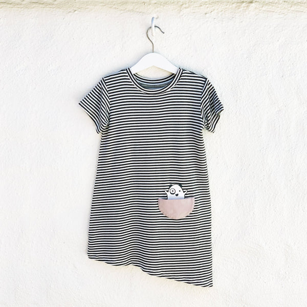 Kids & Babies - Asymmetric T-shirt Dress - Black + White Stripes