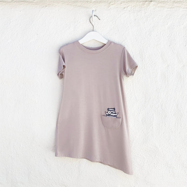 Kids & Babies - Asymmetric T-shirt Dress - Mocha