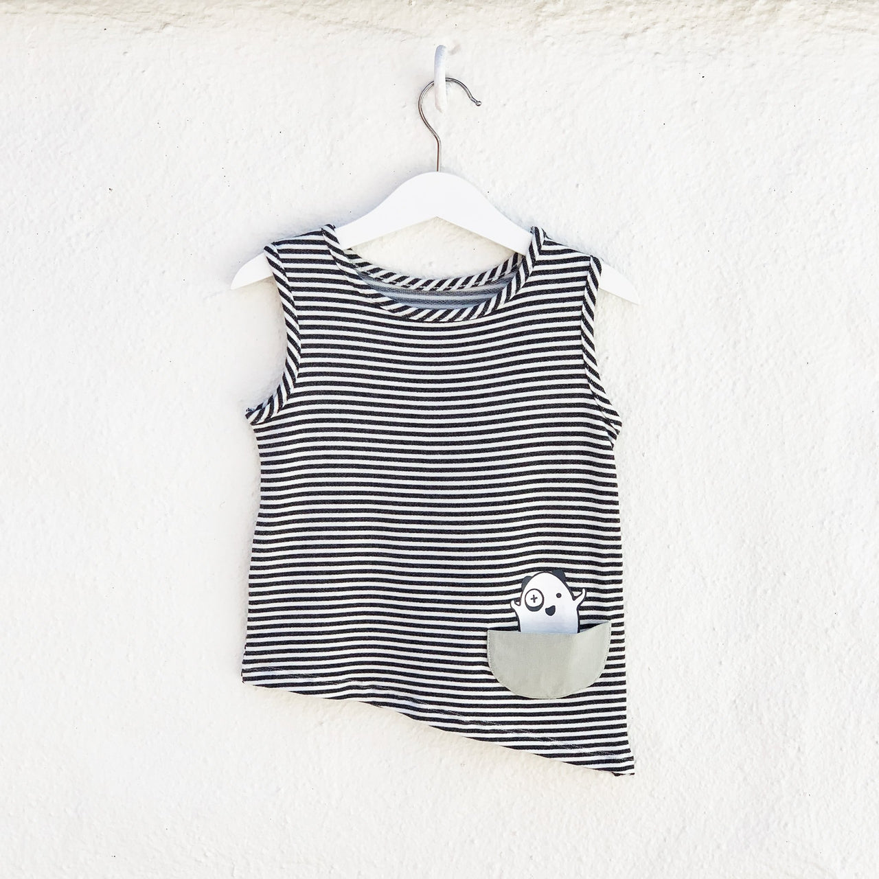 Kids & Babies - Asymmetric Tank - Black + White Stripes
