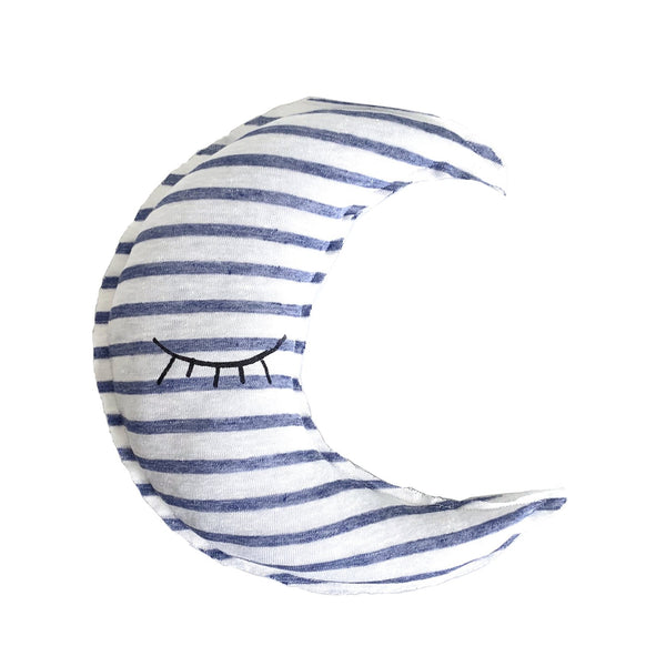 Kids & Babies - Crescent Moon Shaped Striped Pillow - Sleeping Eyes Print