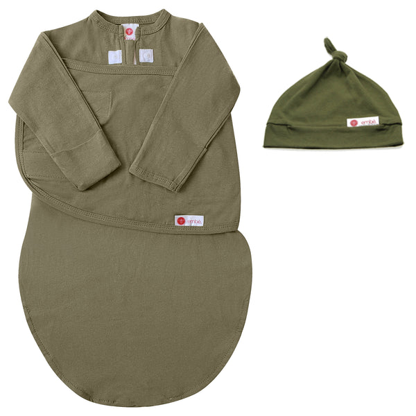 Kids & Babies - Hat And Starter Long Sleeves Swaddle Bundle (Moss)