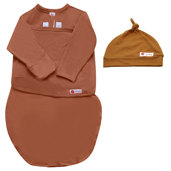 Kids & Babies - Hat And Starter Long Sleeves Swaddle Bundle (Sand)
