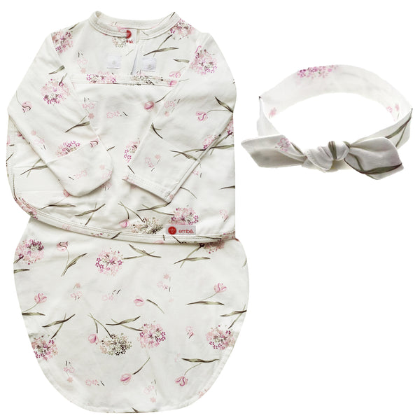 Kids & Babies - Headband And Long Sleeves Swaddle Bundle (Clustered Flowers)